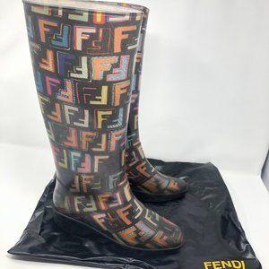 FENDI Zucca Rubber Rain Boots Multi-Color